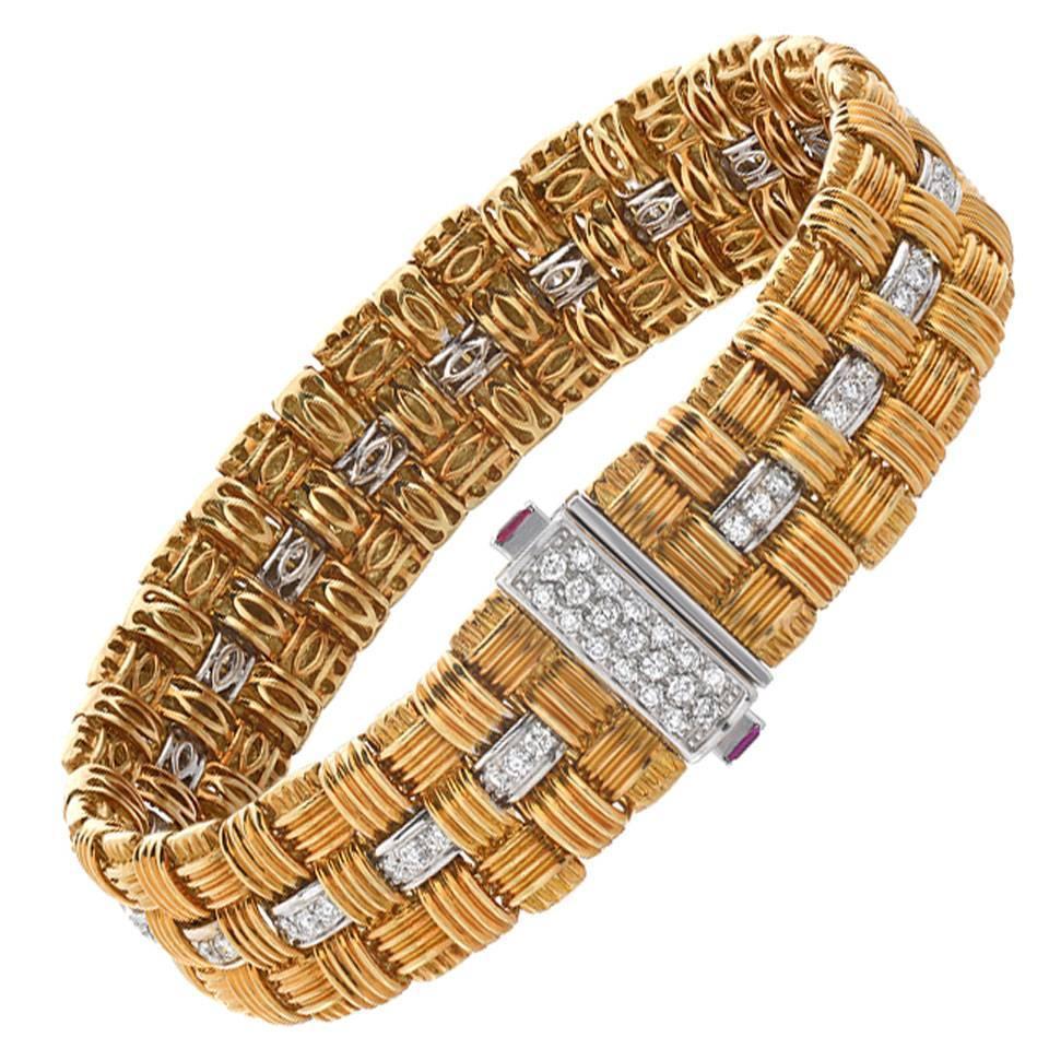 Roberto Coin Ionata Diamond Ruby Gold Bracelet