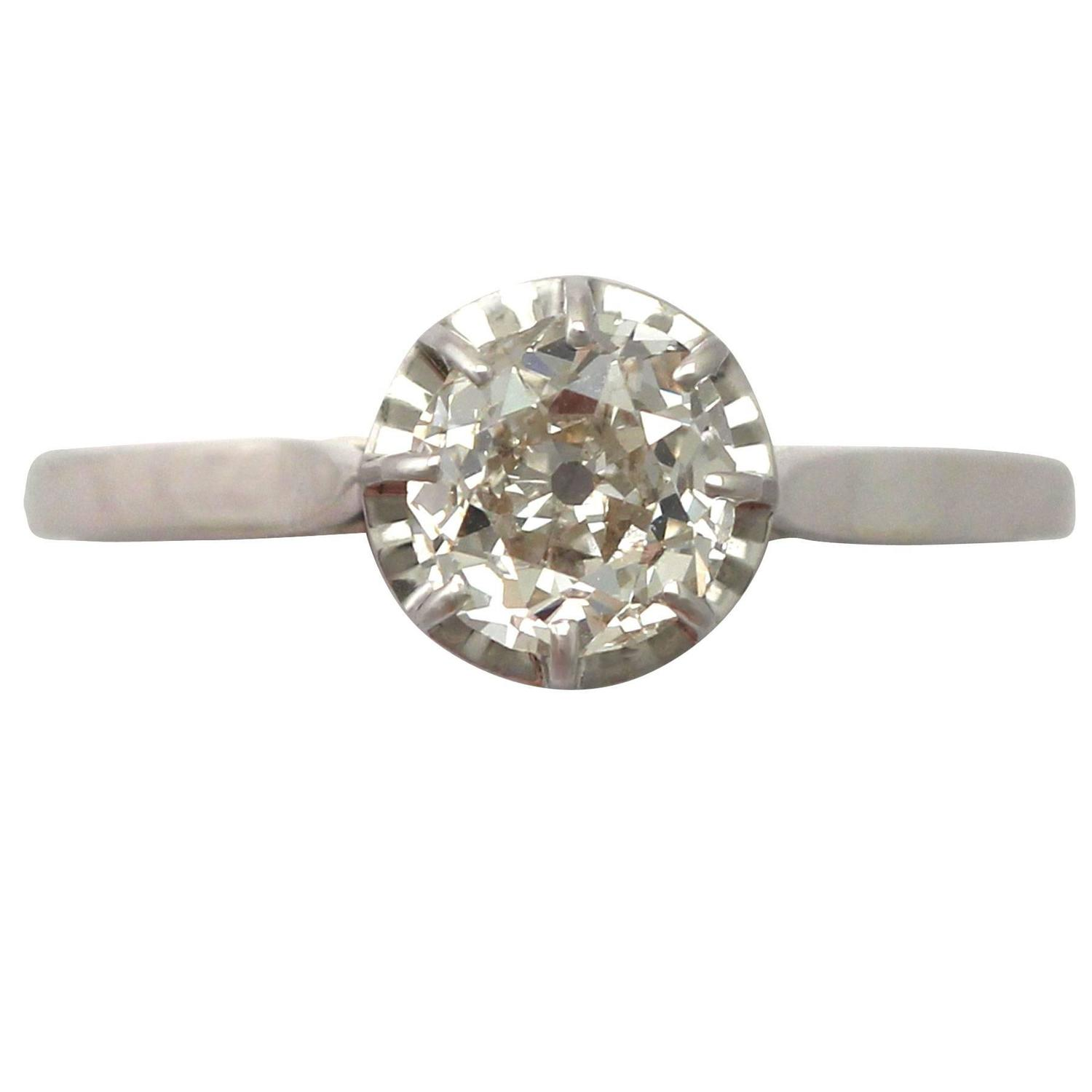 1920s French 1 70 Carat Diamond and 18k White Gold Solitaire Ring