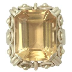 1930s 14.18 Carat Citrine and Yellow Gold Cocktail Ring