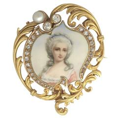 1880s French 0.33 Carat Diamond and Pearl, Enamel and 18k Yellow Gold Brooch