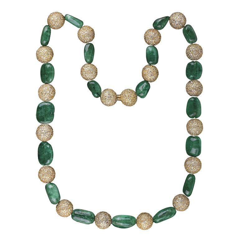 Colombian Emerald Beads & Diamond Necklace  For Sale