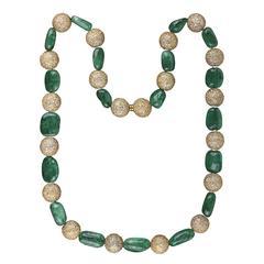 Colombian Emerald Beads & Diamond Necklace