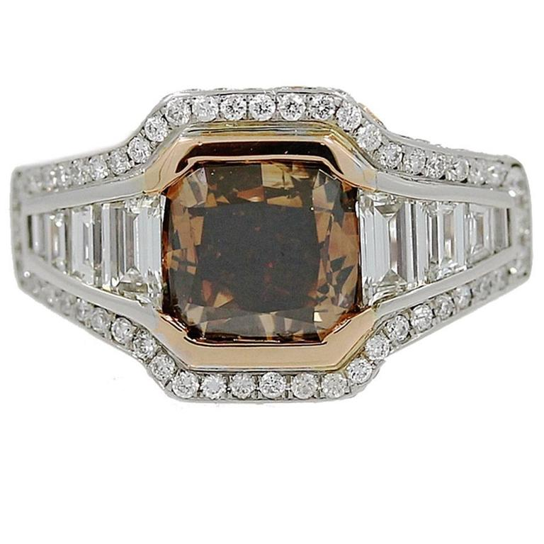 18K Gold Ring with Fancy Range Brown Cshion Cut Diamond GIA Report For Sale