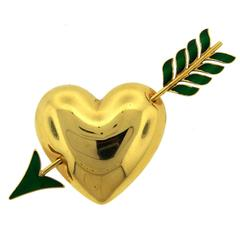 Van Cleef & Arpels VCA Enamel Gold Heart and Arrow Pin Brooch Clip