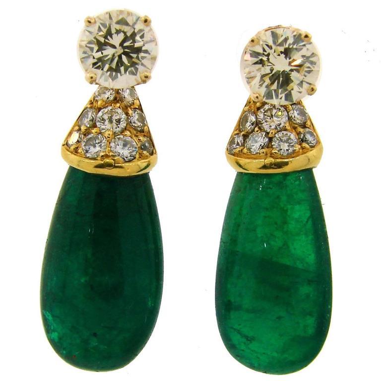 1970s Diamond Emerald Gold Interchangeable Dangle Stud Earrings Drop Signed Fred