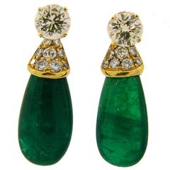 1970s Diamond Emerald Gold Interchangeable Dangle Stud Earrings Drop Signed Fred