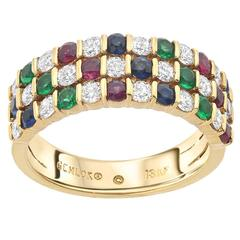 Gemlok Diamond Ruby Sapphire Emerald Gold Band Ring