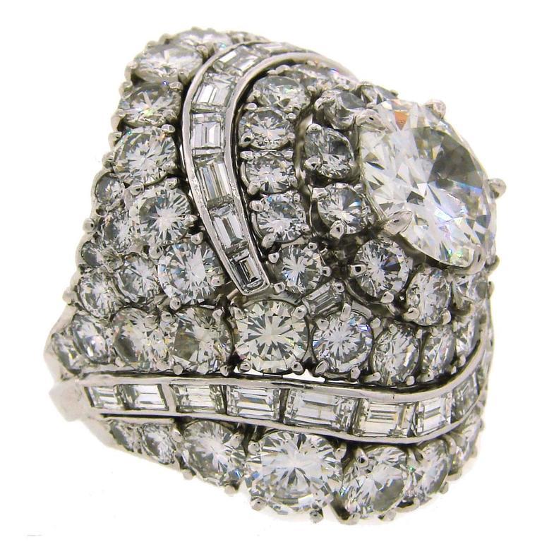 David Webb Diamond Platinum Cocktail Ring For Sale