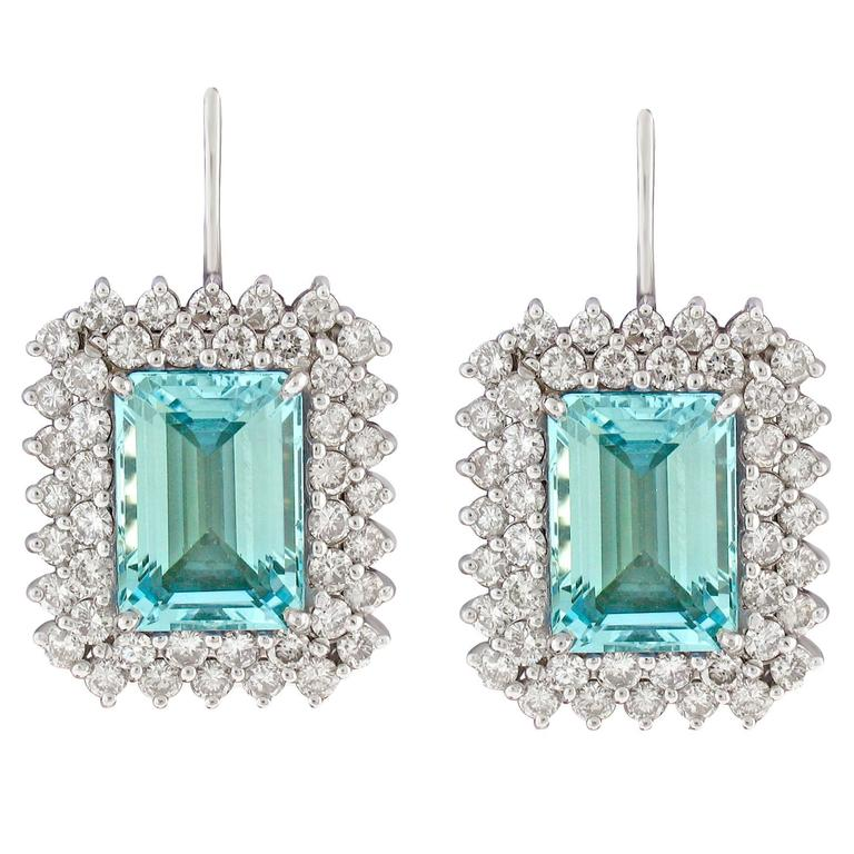 Aquamarine and Diamond Earrings For Sale