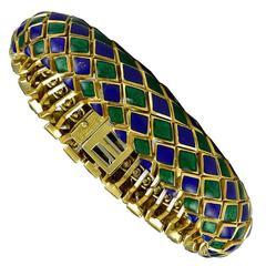Rare David Webb Blue Green Enamel Snake Bracelet