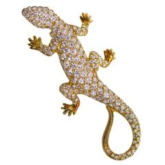Diamond and Gold Lizard Brooch