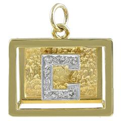 Shadowbox Initial C Charm in Gold With Diamonds