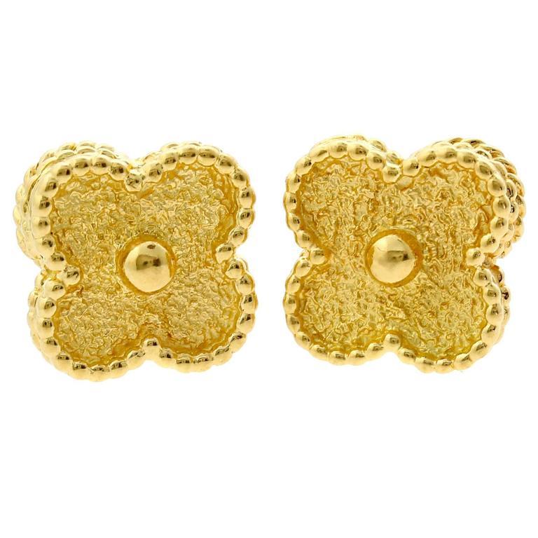 Van Cleef & Arpels Vintage Alhambra Gold Earrings 1