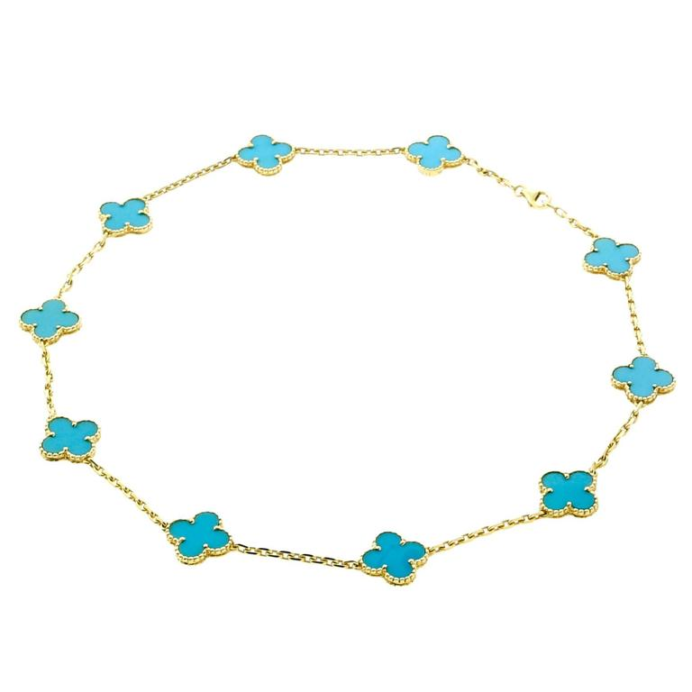 Van Cleef and Arpels Turquoise Gold Vintage Alhambra Necklace at 1stdibs