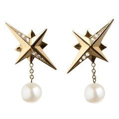 TPL Gold Diamond White Pearl Star Earrings