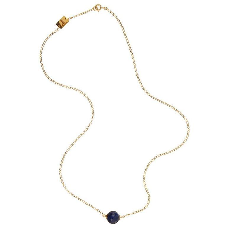 TPL Vermeil Lapis Bead Necklace For Sale