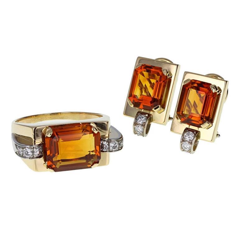 Retro Citrine Diamond Ring and Earrings Set