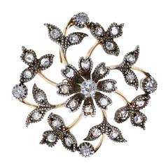 Antique Victorian Floral Diamond Brooch