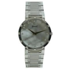 Ladies Piaget Dancer 18k White Gold Mother Of Pearl Diamond Dial Watch