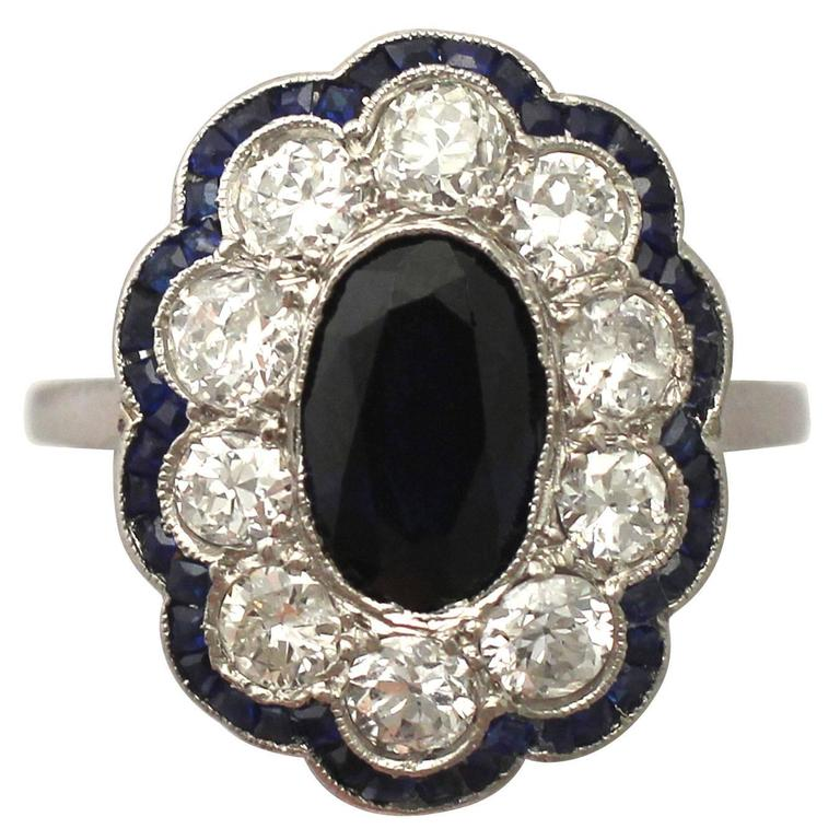1940s French 1.66 Carat Sapphire and 1.60 Carat Diamond Platinum Cluster Ring 1