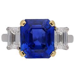 5.94 carat Burmese sapphire diamond ring