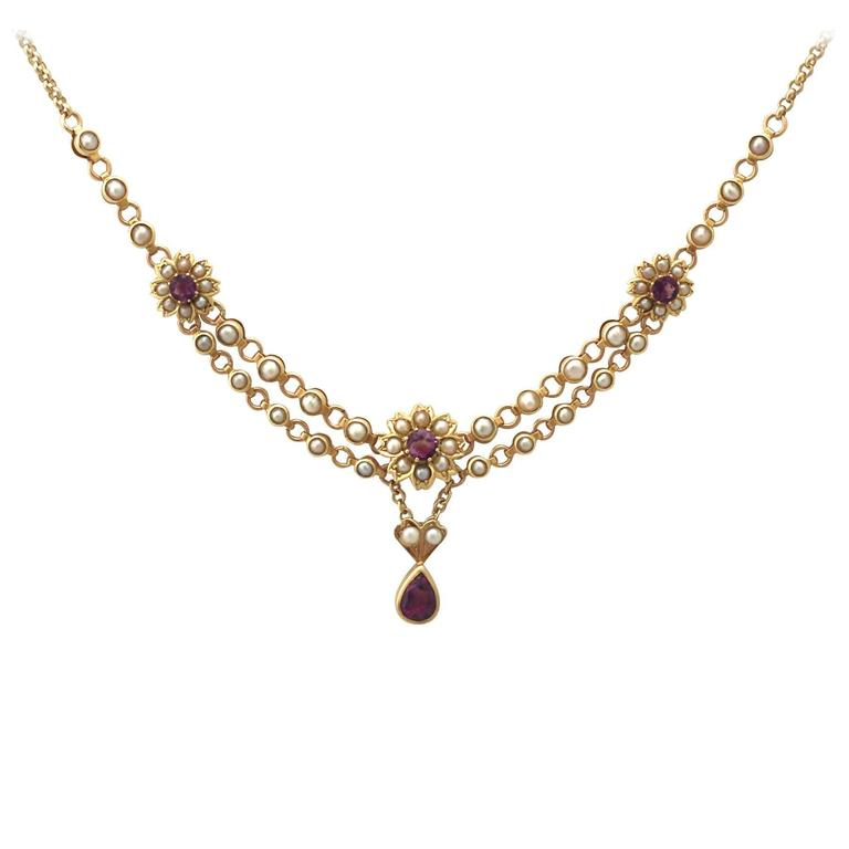1890s Seed Pearl and 0.90 Carat Amethyst Yellow Gold Necklace For ...
