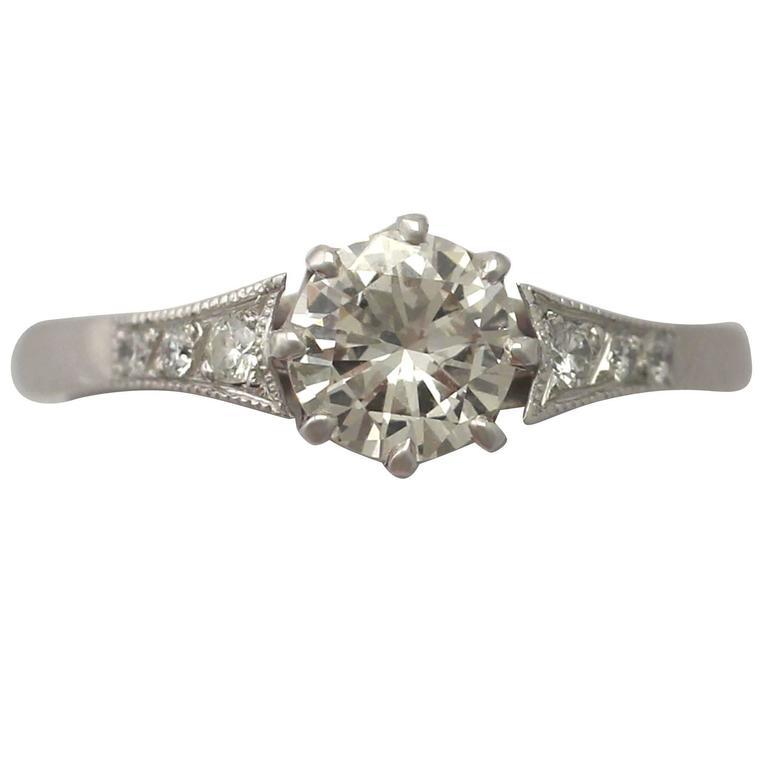 2014 0.78 Carat Diamond and Platinum Solitaire Ring