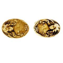 Art Nouveau Female Profile Gold Cufflinks