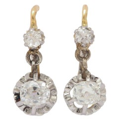 Antique Victorian 18 Karat French Diamond Gold Earrings