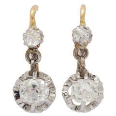 18 Karat French Diamond Gold Earrings
