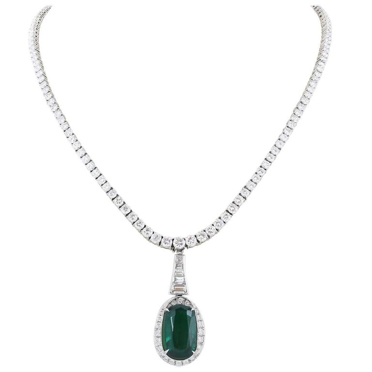 Platinum Diamond 13.60 Emerald 8.09 Carat Drop Necklace