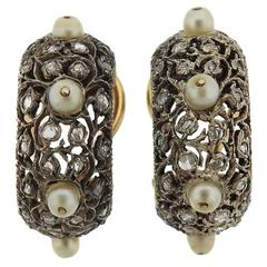 1959 Mario Buccellati Gold Platinum Silver Diamond Pearl Hoop Earrings