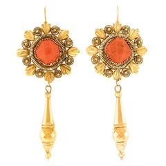 Antique Italian Coral and Gold Earrings