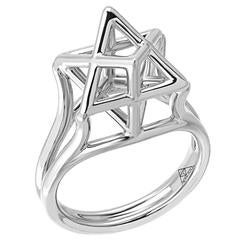 Merkaba Star of David Platinum Ring