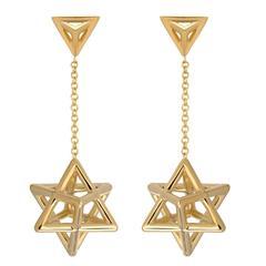 Merkaba Star of David Gold Drop Earrings