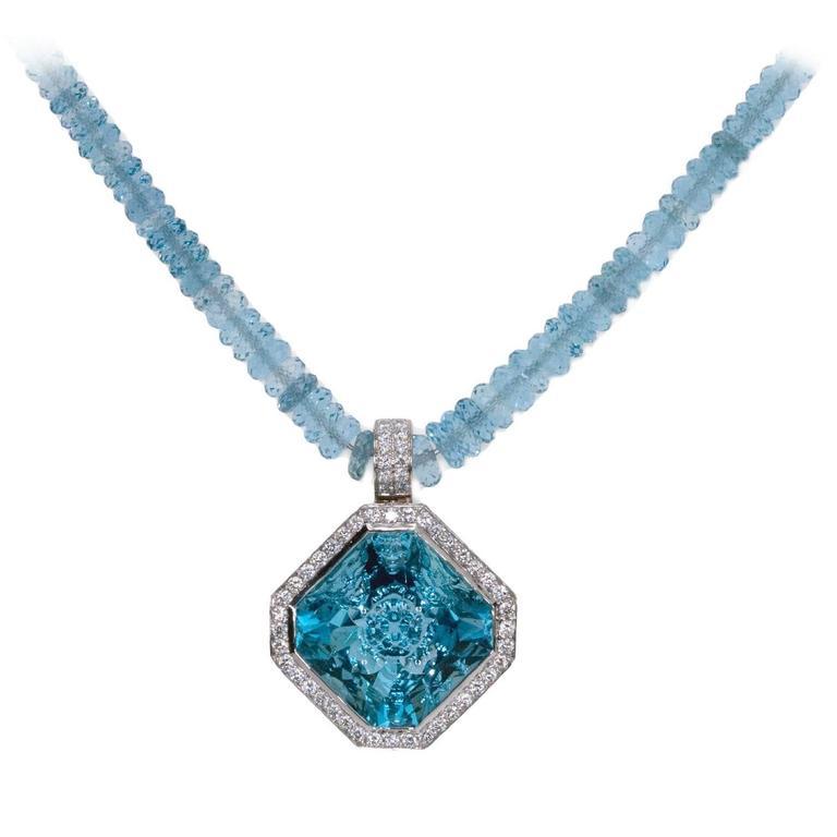 """A 'Samuel Getz"""" Fine Carved Aqua Drop Pendant with Aqua Beads & Diamonds"""