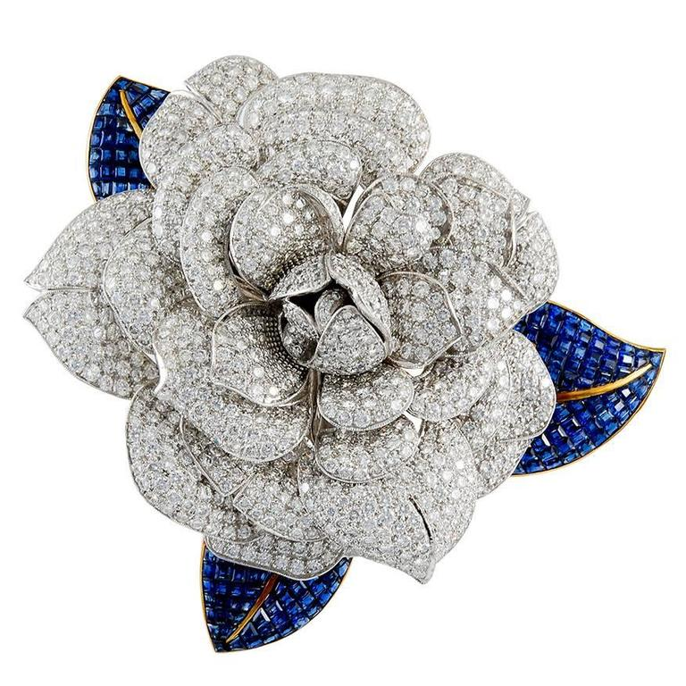 Diamond and Sapphire Camellia Brooch