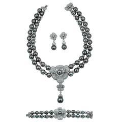 Asprey Diamond and Pearl Necklace Suite