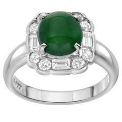 Jade Diamond Platinum Cocktail Ring