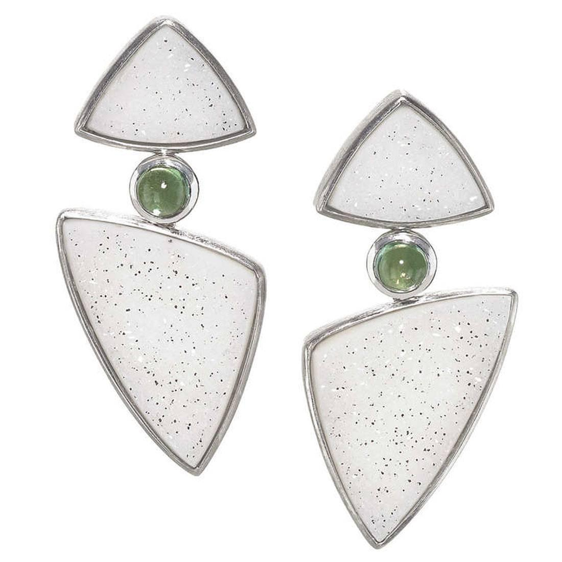 Antonio Bernardo Brazil Shimmering Druzy Agate Green Tourmaline Dangle Earring