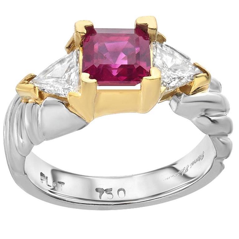Diamond Ruby Gold Platinum Cocktail Ring