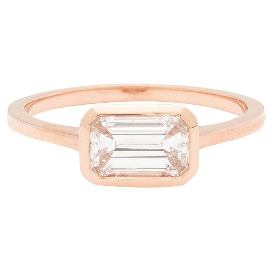 Emerald Cut Horizontally Set Diamond Rose Gold Engagement Ring At 1stdibs