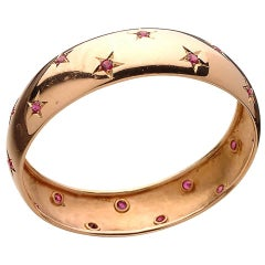 Retro Ruby Gold Bangle Bracelet