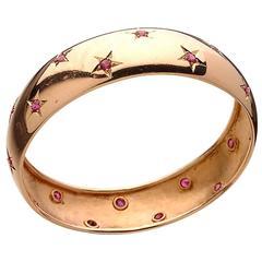 Retro Ruby Gold Bangle Bracelet