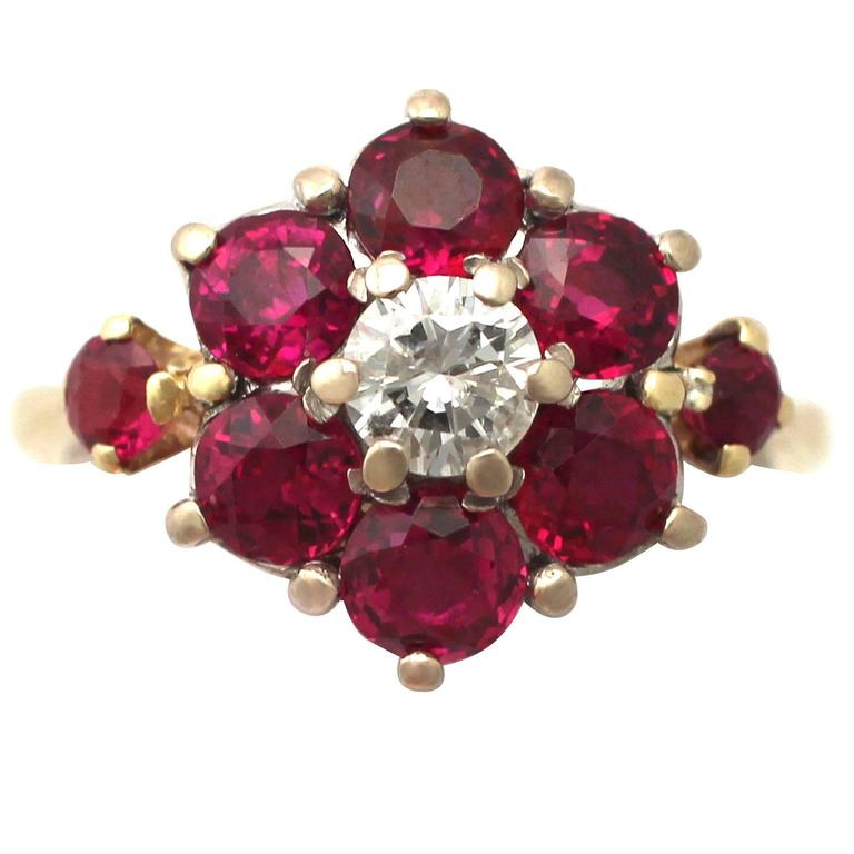 1970s 1.65 Carat Ruby and 0.39 Carat Diamond Cluster Ring in Yellow Gold