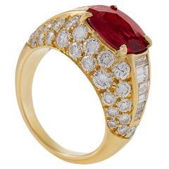 Bulgari Late-20th Century Ruby and Diamond 'Trombino' Ring