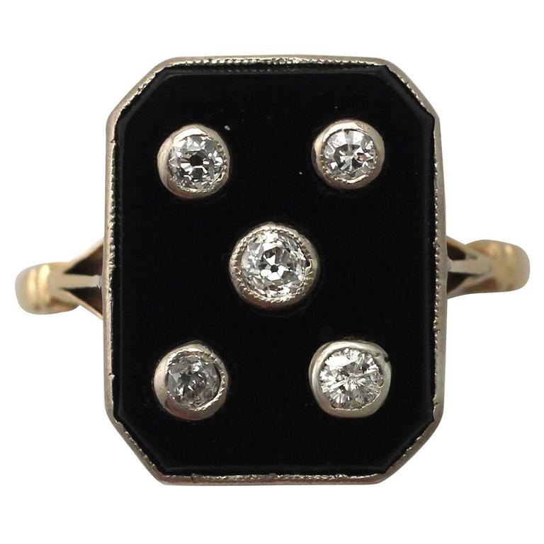 1930s Onyx and Diamond Yellow Gold Cocktail Ring