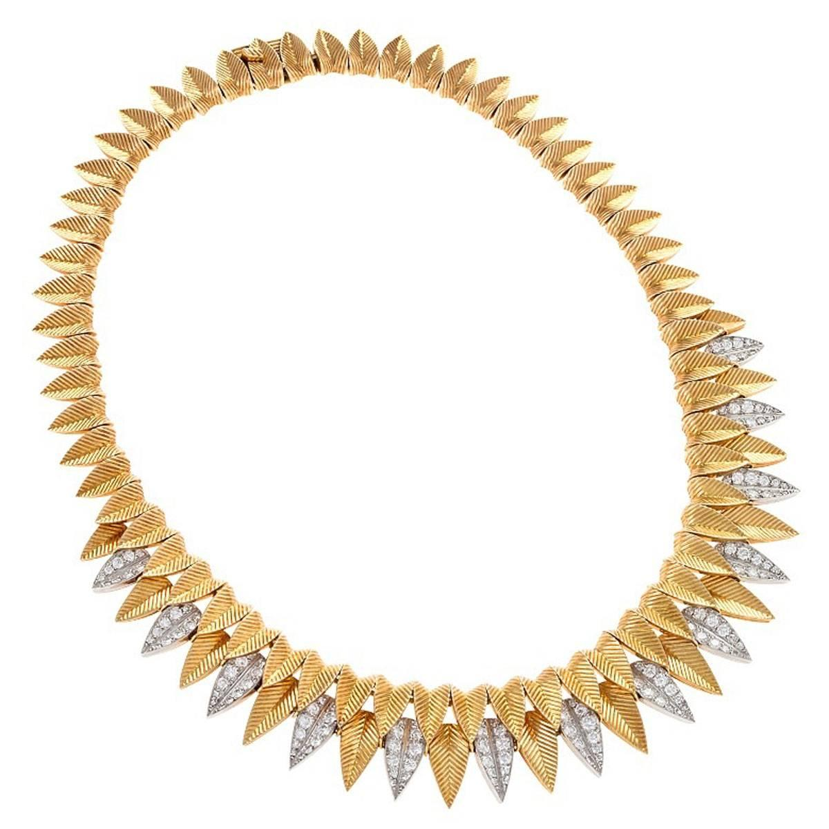 Cartier Gold and Diamond Leaf Necklace