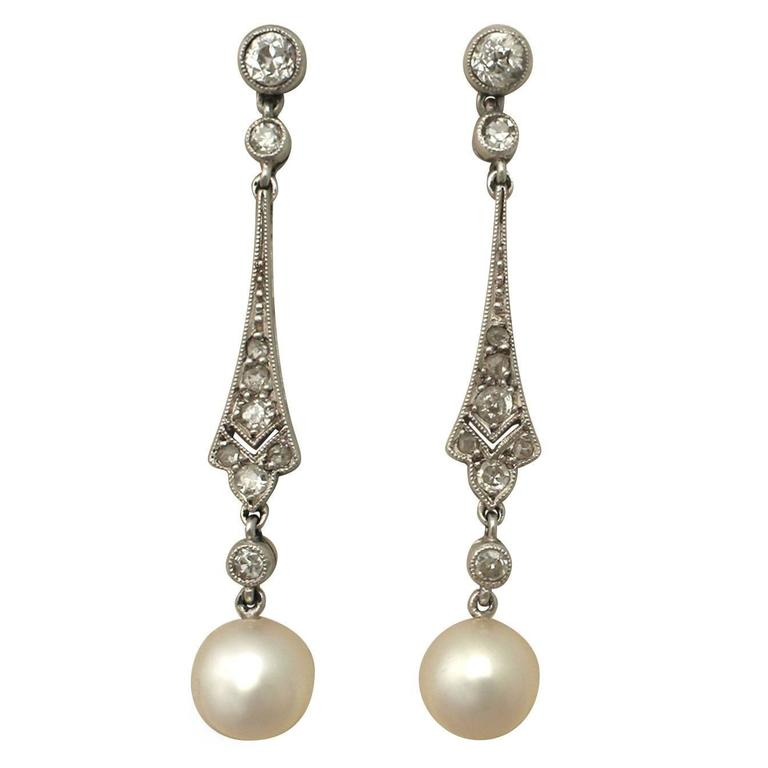 1940s Pearl and Diamond Platinum Drop Earrings For Sale