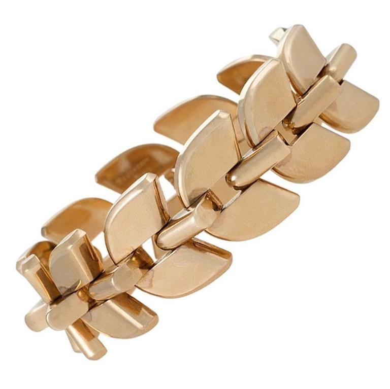 """Boucheron Paris 1940's Retro Gold Link """"Epis"""" Bracelet"""